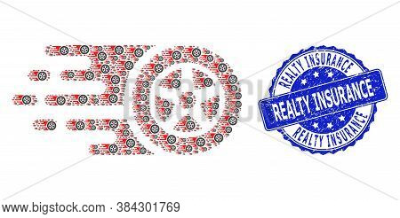Realty Insurance Rubber Round Stamp Seal And Vector Recursion Collage Tire Wheel. Blue Seal Includes