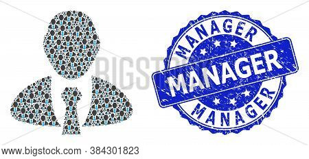 Manager Scratched Round Stamp And Vector Fractal Collage Manager. Blue Stamp Seal Has Manager Captio