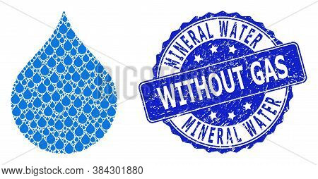 Mineral Water Without Gas Unclean Round Seal And Vector Recursive Collage Water Drop. Blue Stamp Sea