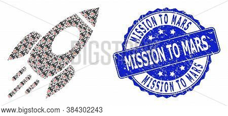 Mission To Mars Corroded Round Seal Print And Vector Recursion Mosaic Space Rocket. Blue Seal Has Mi