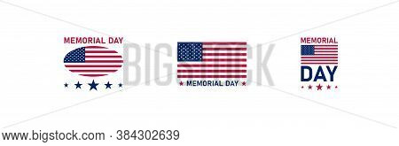 Memorial Day, Simple Icon Set. Usa Flag Concept Illustration In Vector Flat