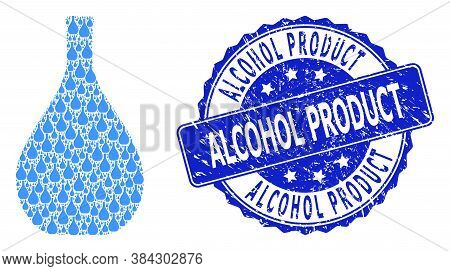 Alcohol Product Rubber Round Stamp Seal And Vector Recursive Collage Glass Jug. Blue Stamp Seal Incl