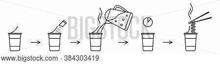 Instant Noodle Making Instructions In Line Icon Style. Vector Illustration Of Step By Step Guide How