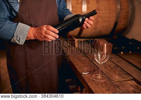 Male Winemaker In Apron Holding Bottle Of Wine