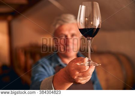 Male Winemaker Hand Holding Glass Of Red Wine