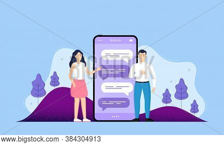 Phone Online Chatting Background. Date App Smartphone Screen. Mobile Phone With Characters Of People