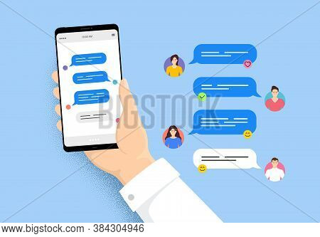 Hand Holding Phone With Online Messages. Smartphone With Friends Chatting. User Characters Of People