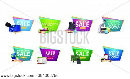 Back To School Sale, Large Collection Colorful Discount Banners In Geometric Uneven Forms For Your W