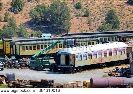 September 4, 2020 In Virginia City, Nv:  Historical Passenger Rail Cars Stored And Being Renovated T