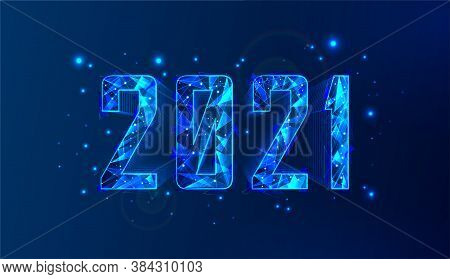 Modern Technology 2021 Happy New Year Banner. Neon Polygonal 3d Numbers - 2021 With Glow And Sparkle