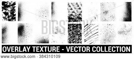 Overlays Grunge Template. Different Texture Mockups With Splay Effect And Drop Ink Splashes. Dirty G