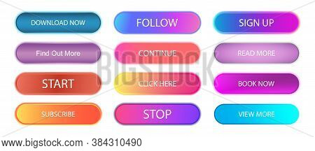 Buttons With Gradient And Shadow. Colorful Collection For Web, Ui, Ux, App. Gradient Neon Buttons -