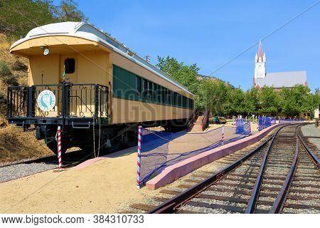 September 4, 2020 In Virginia City, Nv:  Passenger Rail Cars On Display At The Railroad Depot In Vir