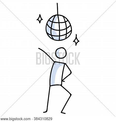 Hand Drawn Stickman Disco Dancer With Ball Concept. Simple Outline Ballerina Figure Doodle Icon Clip