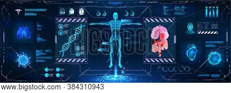 Futuristic Healthcare Examination Hud Style. Complete Body Scan, Dna, Anatomy, Organs, Skeleton, And