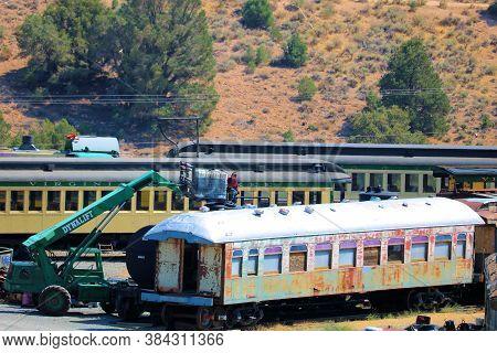 September 5, 2020 In Virginia City, Nv:  Vintage Passenger Rail Cars On Display At The Virginia City
