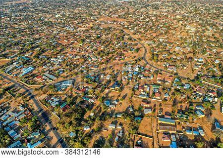 aerial panorama of Tlokweng suburbia in Gaborone, Botswana