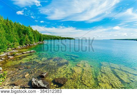 Absolutely Beautiful Gorgeous Inviting View Of Bruce Peninsula Park Landscape, Grounds With Its Tran