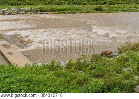Water In River Surging After Torrential Monsoon Rains In South Korea.