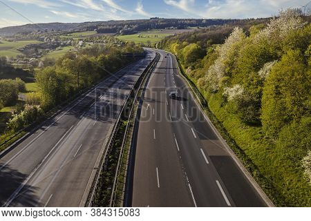 Autobahn Landscape In Germany In Summer Time