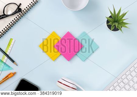 3 Sticky Note Or Note Pad And Office Supplies As Keyboard,pen,pencil,office Plants,notebook,glasses,