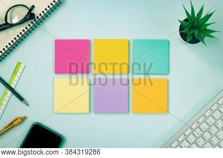 6 Stick Note Or Note Pad And Office Supplies As Keyboard,pen,pencil,office Plants,spiral Notebook,gl