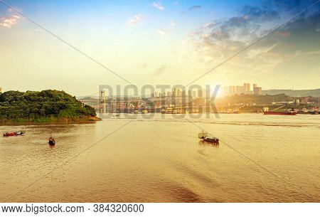 The Yangtze River Landscape In Early Morning, Cargo Crane On Inland River Wharf