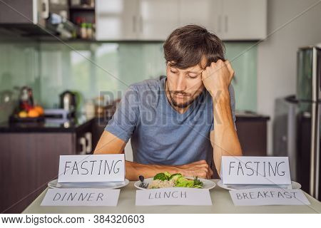 Intermittent Fasting During Breakfast And Dinner. Intermittent Fasting Concept, Top View
