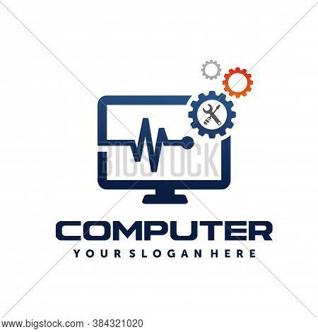 Pc Tech, Computer Tech, Computer Repair, Computer Services Logo Vector