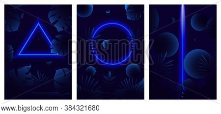 Three Different Decorative Blue Glowing Line Neon Reflex Patterns On Tropical Leaves Over A Dark Bac