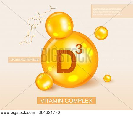 Golden Vitamin D3 Complex And Molecular Diagram In A Nutritional, Medical And Dietary Concept, Color
