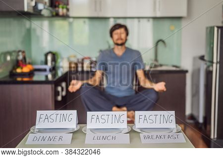 The Man Is Engaged In Intermittent Fasting For Health.. Intermittent Fasting Concept, Top View