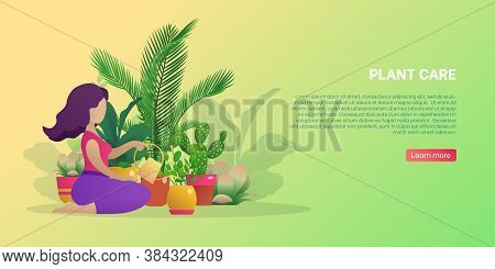 Plant Care Banner Template. Young Woman Taking Care Of Green House Plants. Planter Hobby, Botanical