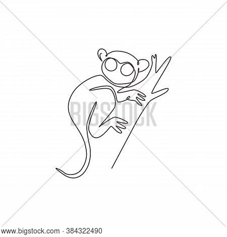 Single One Line Drawing Of Funny Tarsier For Foundation Logo Identity. Nocturnal Primate Animal Masc