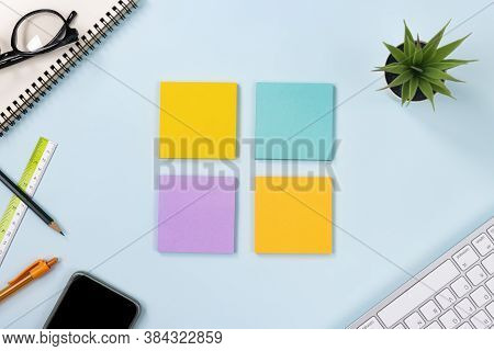 4 Stick Note Or Note Pad And Office Supplies As Keyboard,pen,pencil,office Plants,spiral Notebook,gl