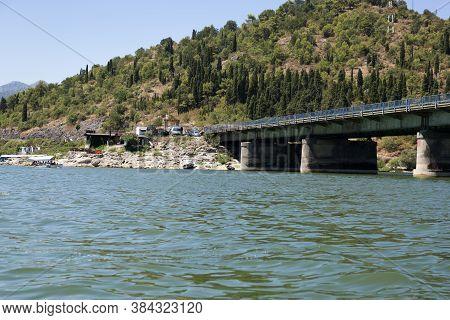 Lake Skadar, Montenegro - August 02, 2017: Railway Bridge Over Skadar Lake, Montenegro.