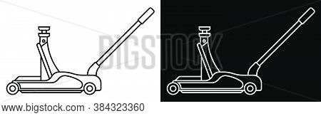 Hydraulic Car Jack On Wheels. Car Belt In Repair Shops. Increased Lift. Lifting Transport To Change