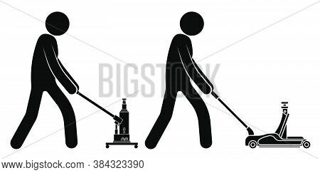 Stick Figure, Workshop Mechanic Rolls A Mechanical Manual Car Jack. Belt In Repair Shops. Increased