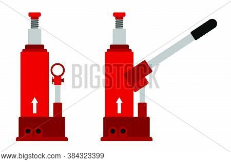 Hydraulic Car Jack Icon. Car Belt In Repair Shops. Increased Lift. Lifting The Transport To Change W