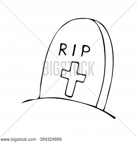 Halloween Doodle Tombstone. Spooky And Fun Hand Drawn Icon Tomb. Vector Illustration.