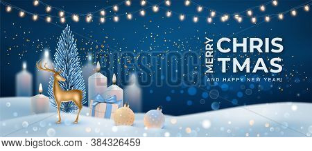 Christmas Winter Holiday Night Landscape With Golden Deer Statuette And Burning Candles