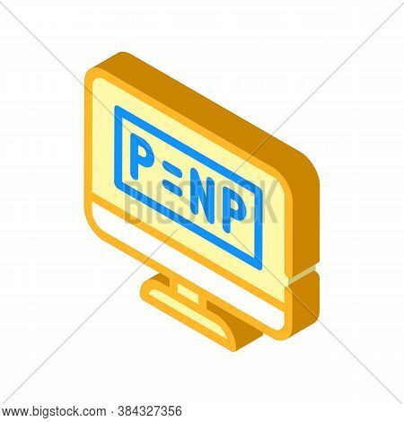P Vs Np Unsolved Problem In Computer Science Isometric Icon Vector Illustration