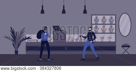 Jewelry Store Robbery Criminal Scene With Burglars Flat Vector Illustration.