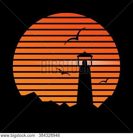 Lighthouse On The Background Of Sunset And Seagulls. Stock Vector Image, Flat Style