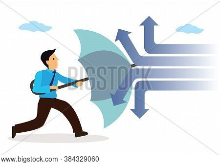 Businessman Holding An Open Umbrella Which Protects From Attacking Arrows. Concept Of Insurance And