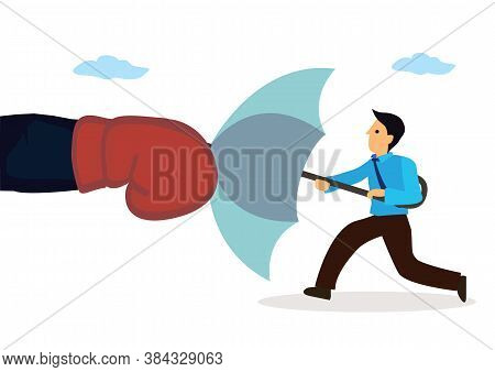 Businessman Holding An Open Umbrella Which Protects From Attacking Fist. Concept Of Competition Or S