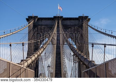 Brooklyn Bridge At Daylight, New York City , Manhattan And Brooklyn