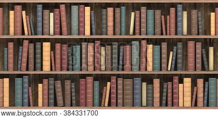 Vintage books on old wooden shelf. Old library or antique bookshop. Tiled seamless texture, wallpaper or background. 3d illustration
