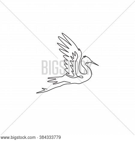 One Continuous Line Drawing Of Cute Flying Heron For Company Logo Identity. Coastal Bird Mascot Conc