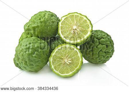 Fresh Bergamot Fruit Isolated On White Background.